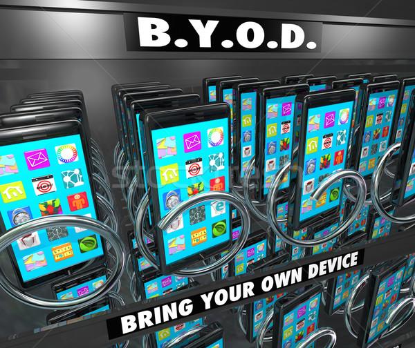 Puce téléphone portable distributeur automatique propre appareil mots Photo stock © iqoncept