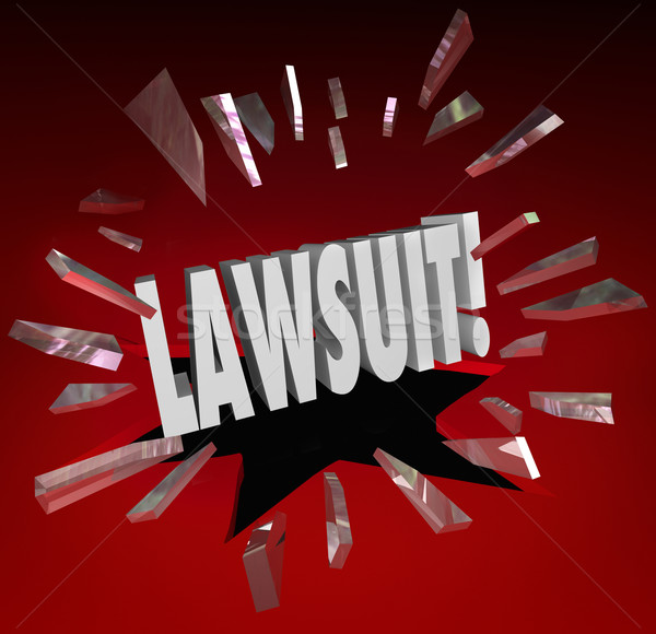 Lawsuit Word Smashing Glass Sue Claim Court Damages Stock photo © iqoncept