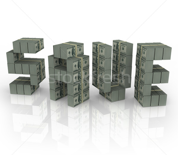 Save Word Money Stacks Bundles Savings Sale Discount Cash Stock photo © iqoncept