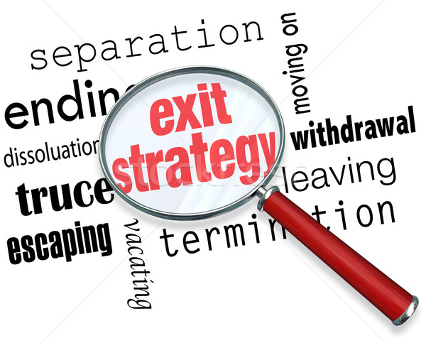 Exit Strategy Magnifying Glass Way Out Contract Partnership Marr Stock photo © iqoncept