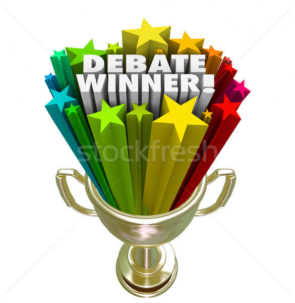 Debate Winner Gold Trophy Prize Best Argument Skill Stock photo © iqoncept