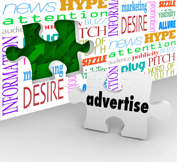 Stock photo: Advertise Word Puzzle Piece Wall Marketing Selling Products Serv
