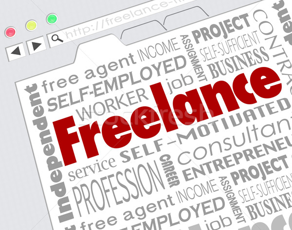 Freelance Indpendent Contractor Website Developer Word Collage Stock photo © iqoncept