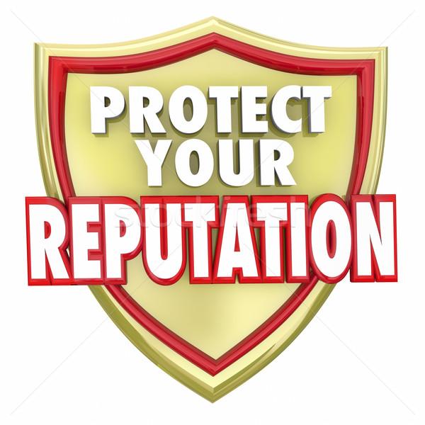 Tarcza słowa złota zilustrować wiarygodność Zdjęcia stock © iqoncept