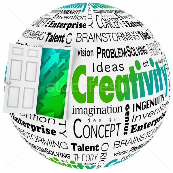 Creativiteit deur opening heldere toekomst ontwerp Stockfoto © iqoncept