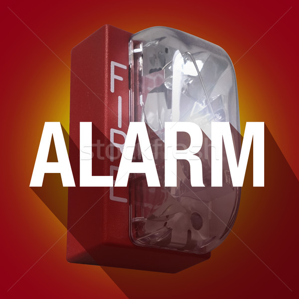 Fire Alarm Word Long Shadow Emergency Crisis Evacuation Stock photo © iqoncept