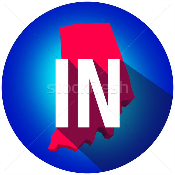 Indiana IN Letters Abbreviation Red 3d State Map Long Shadow Cir Stock photo © iqoncept
