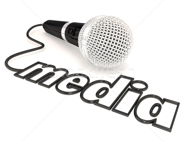 Media Word Microphone Cord Reporting Journalism Information Stock photo © iqoncept