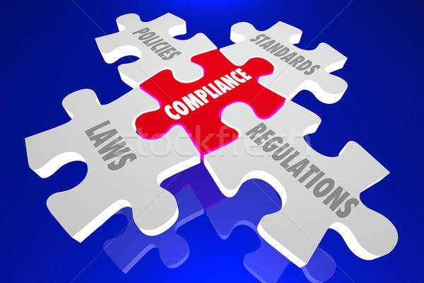 Compliance Laws Policies Regulations Puzzle Words 3d Illustratio Stock photo © iqoncept