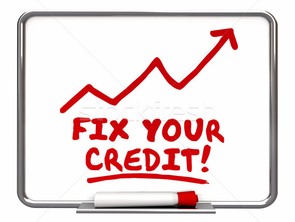 Fix Your Credit Arrow Going Up Improvement Words 3d Illustration Stock photo © iqoncept