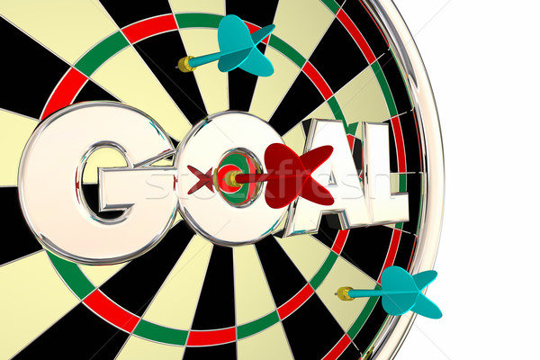 Goal Word Mission Objective Target Dart Board 3d Illustration Stock photo © iqoncept