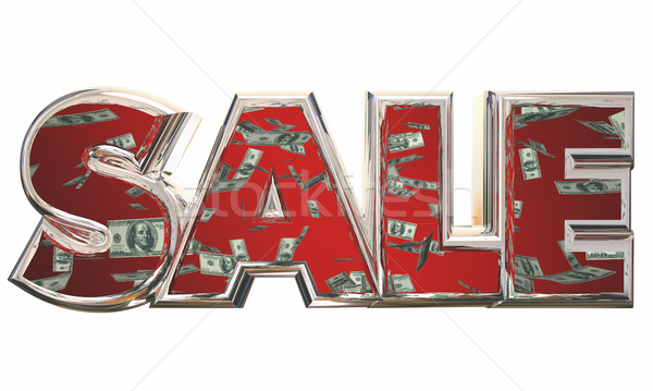 Sale Word Save Money Falling Dollars 3d Illustration Stock photo © iqoncept