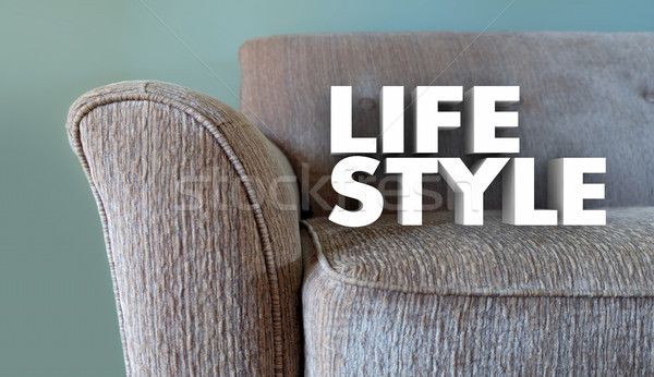 Lifestyle Couch Home Leisure Fashion Word 3d Illustration Stock photo © iqoncept