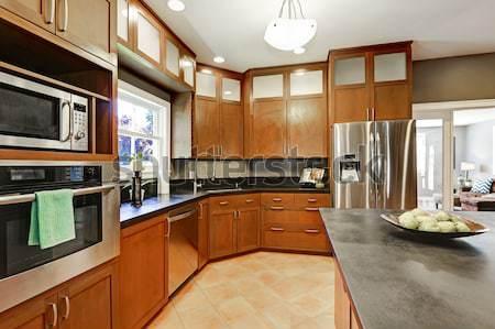 Luxus mahagóni konyha modern bútor vám Stock fotó © iriana88w