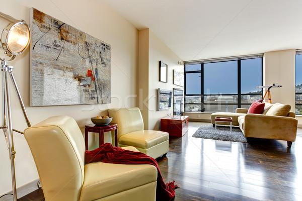 Modern daire iç oturma odası cam duvar Stok fotoğraf © iriana88w