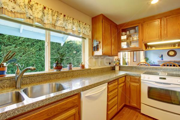 Clássico cozinha piso de madeira bar entrada casa Foto stock © iriana88w