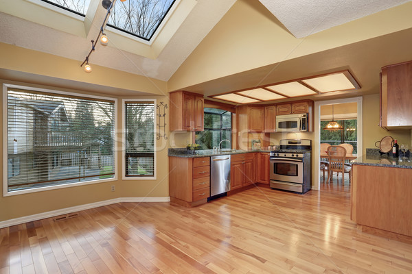 classic kitchen with hardwood floor and windows. Stock photo © iriana88w