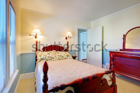 Blue bedroom with bed and skylight. Stock photo © iriana88w