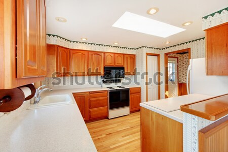 Countryside house  kitchen room interior with skylights Stock photo © iriana88w