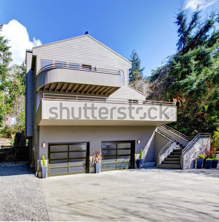 большой серый современных дома гаража дорога Сток-фото © iriana88w