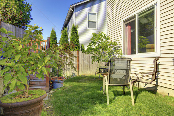 Small fenced back yard with garden and lots of greenery. Stock photo © iriana88w