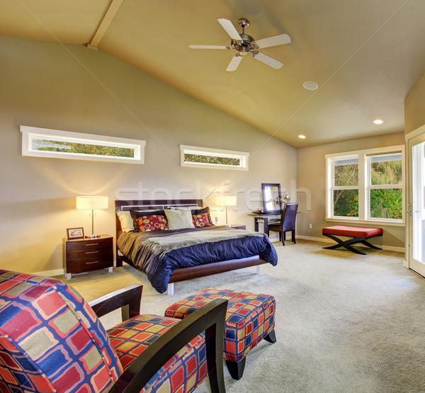 Mester hálószoba ablakok kandalló nagy színes Stock fotó © iriana88w