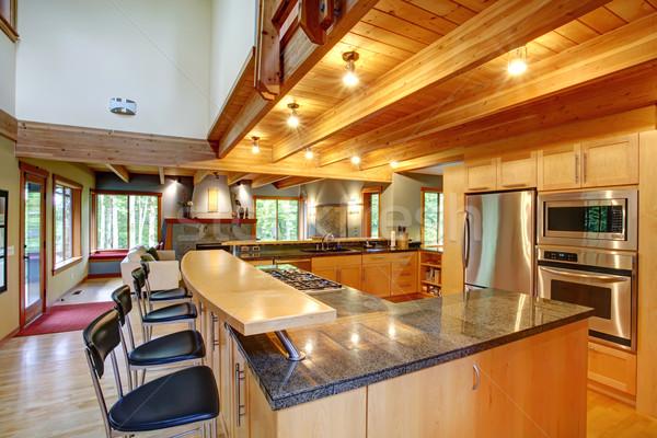 Log cabin style. Kitchen interior Stock photo © iriana88w