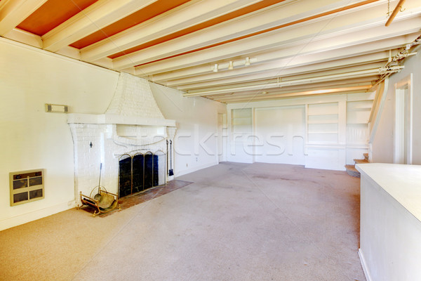 Old American house living room in the basement with fireplace. Stock photo © iriana88w