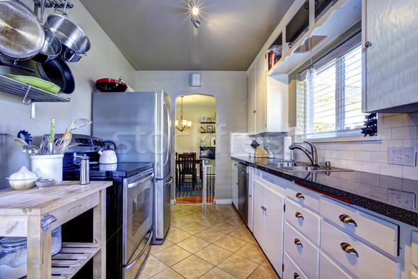 Azul interior de la cocina marrón azulejo acero inoxidable refrigerador Foto stock © iriana88w