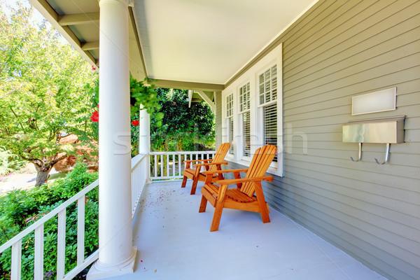 Elöl veranda székek oszlopok öreg kézműves Stock fotó © iriana88w