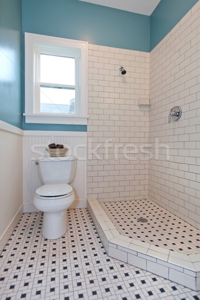 Bathroom interior with tile and plank wall trim. Stock photo © iriana88w