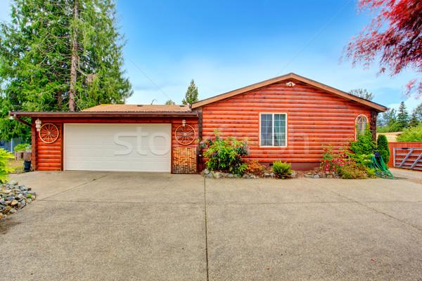 Log cabin style house exterior with garage. Stock photo © iriana88w
