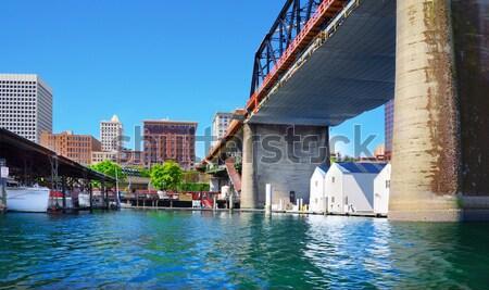 Tacoma downtown city marina with houses and large bridge. Stock photo © iriana88w