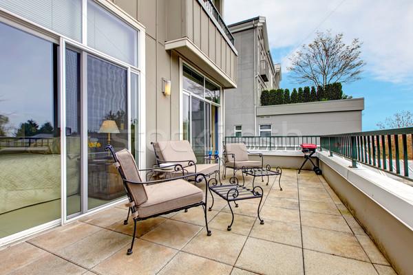 Erkély bútor új társasház nagy terasz Stock fotó © iriana88w