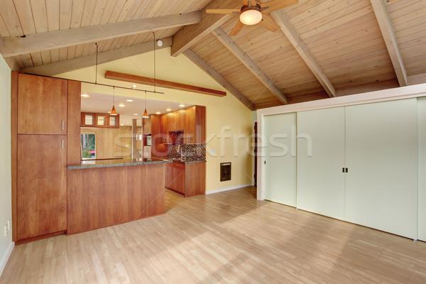 Stockfoto: Mooie · kamer · groene · muren · keuken · interieur