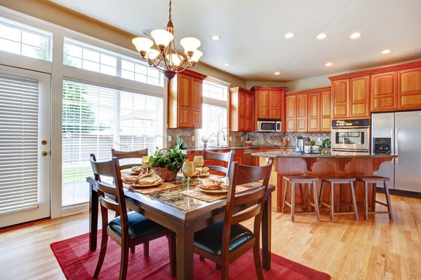Moderne keuken kamer eiland dining staal Stockfoto © iriana88w