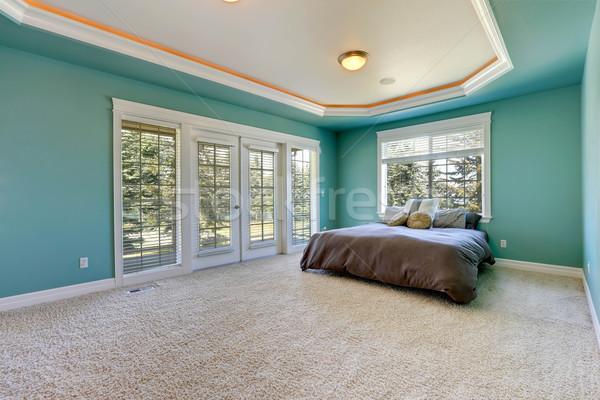 Master bedroom in turquoise color Stock photo © iriana88w