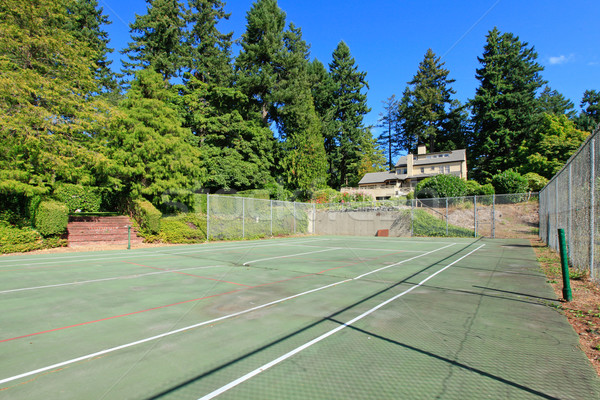 Tennis court wuth Large brown house exterior with summer garden. Stock photo © iriana88w