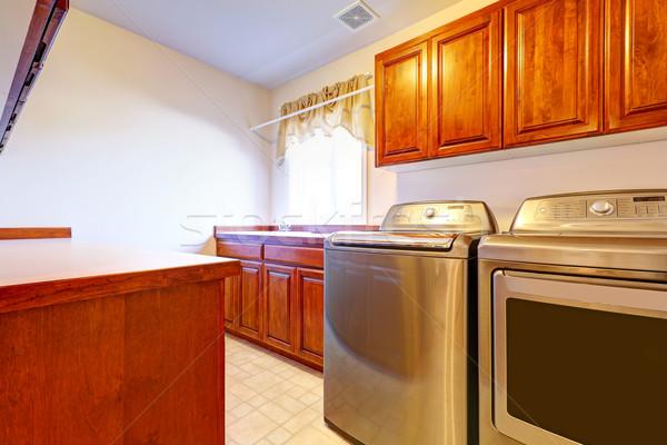 Laundry room with modern steel appliances Stock photo © iriana88w