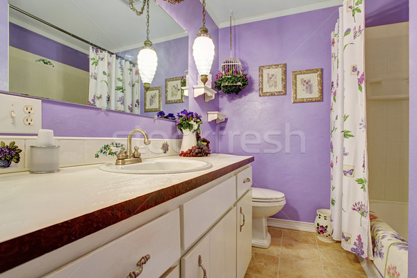 Lovely purple themed bathroom. Stock photo © iriana88w