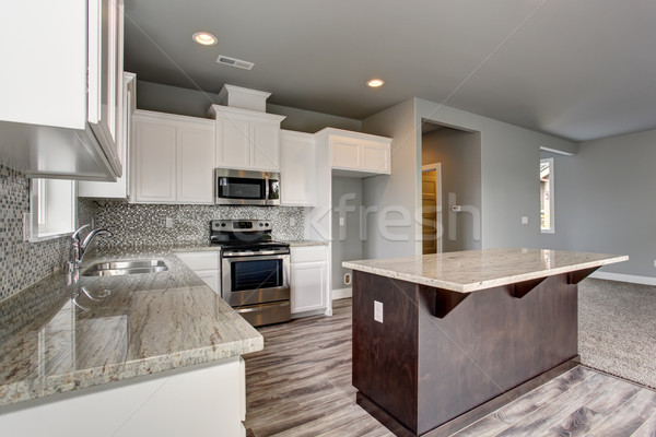 Egyedi konyha szürke keményfa padló kút falak Stock fotó © iriana88w