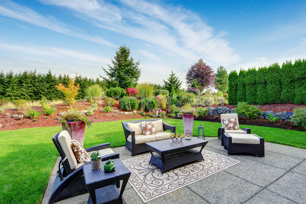 Impressive backyard landscape design with patio area Stock photo © iriana88w
