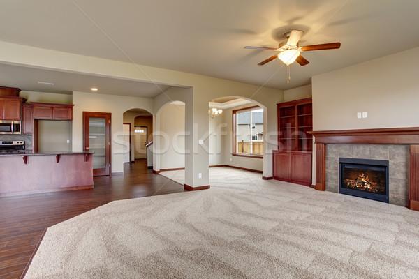 Nieumeblowane salon dywan ognisko świetle domu Zdjęcia stock © iriana88w