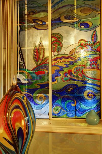 Stock fotó: Színes · festett · ablak · absztrakt · üveg · váza
