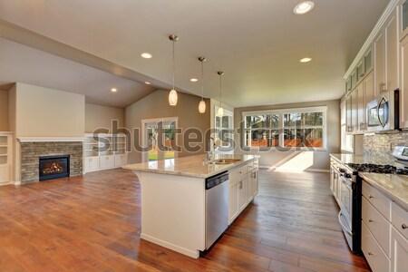 Mooie nieuwe houten vloer Windows huis muur Stockfoto © iriana88w
