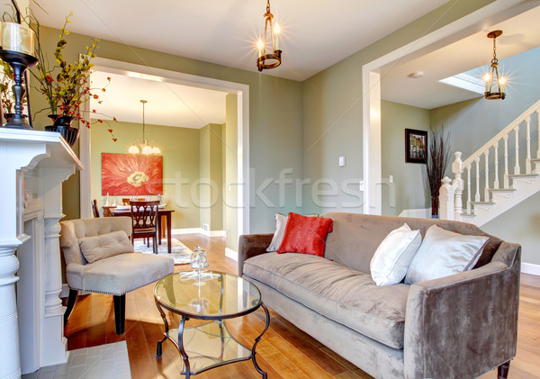 Beautiful green elegant living room with brown sofa and fireplace. Stock photo © iriana88w