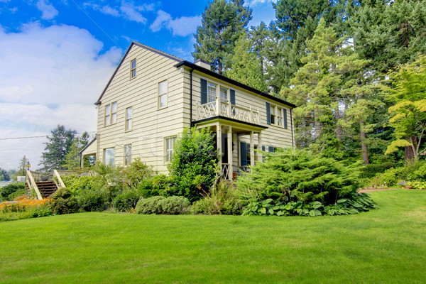 Large brown house exterior with summer garden. Stock photo © iriana88w