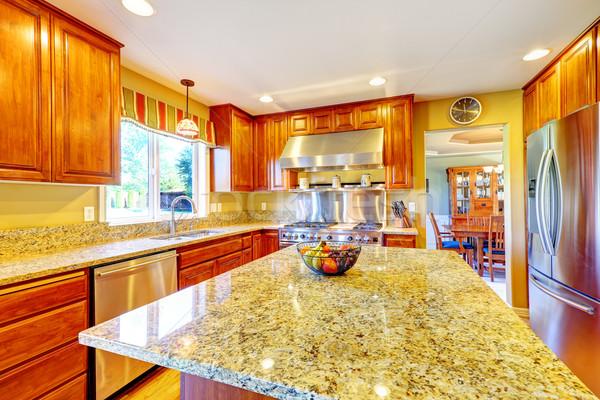Shiny luxury kitchen room with island Stock photo © iriana88w