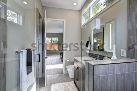 Agradable lavandería habitación azulejo piso lavadora Foto stock © iriana88w