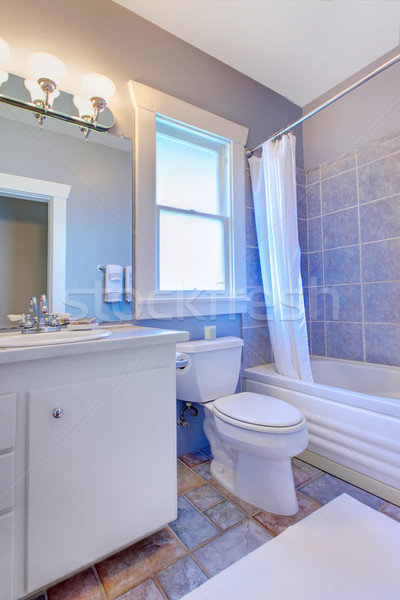 Blue bathroom with white cabinets with stone tiles and blue tiles. Stock photo © iriana88w